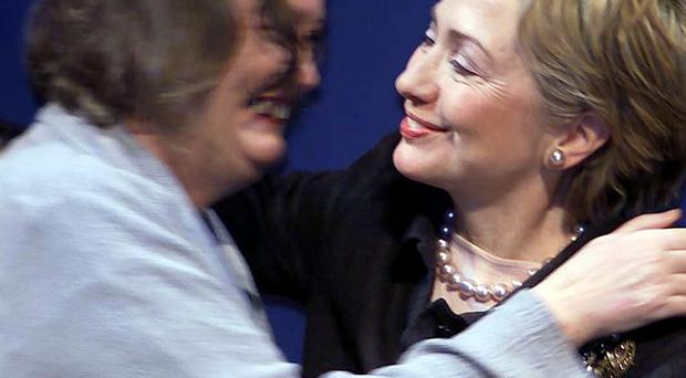 Hillary Clinton with Inez McCormack at the NIVT conference in Belfast