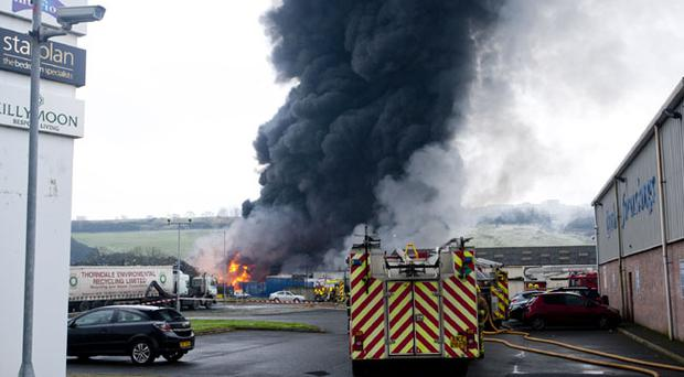Scene of a fire at a recycling factory on the outskirts of Derry