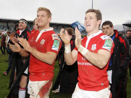 Chris Henry, pictured applauding Ulster's fans with Craig Gilroy, has been an inspirational skipper