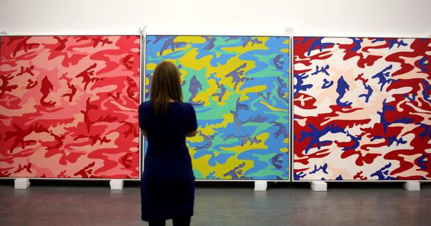 Camouflage Silk Screen Canvases which are in the upcoming Andy Warhol Exhibition in the Mac Building, Belfast.
