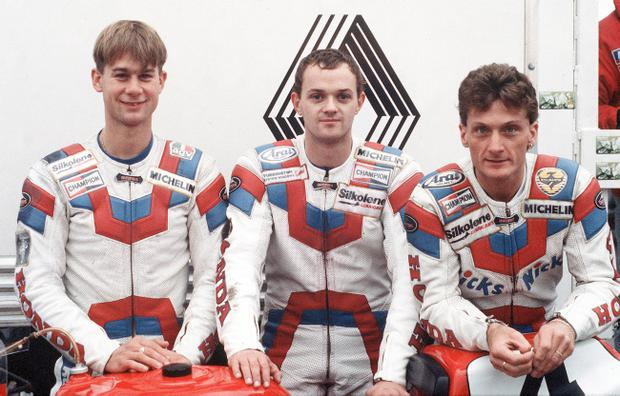 Honda teammates Jamie Whitham, Phillip McCallen and Carl Fogarty at the North West in the 1980s