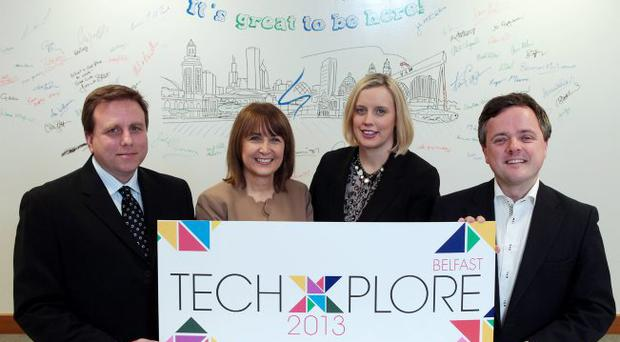 The TechXplore event is launched by (from left) Mark Bennett of CME Group, Chamber of Commerce chief executive Anne McGregor, Emma Hunt of Mills Selig and Carl Whyte of MW Advocate