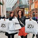 Happy shoppers: Gemma Carr from Ballykinler and Kerryann Poland from Annalong enjoy the buzz of Victoria Square in Belfast