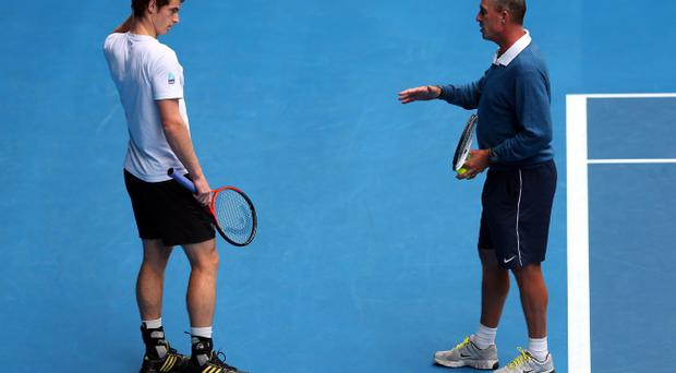 MELBOURNE, AUSTRALIA - JANUARY 26: Andy Murray of Great Britain talks to his coach Ivan Lendl in a practice session during day thirteen of the 2013 Australian Open at Melbourne Park on January 26, 2013 in Melbourne, Australia. (Photo by Julian Finney/Getty Images)