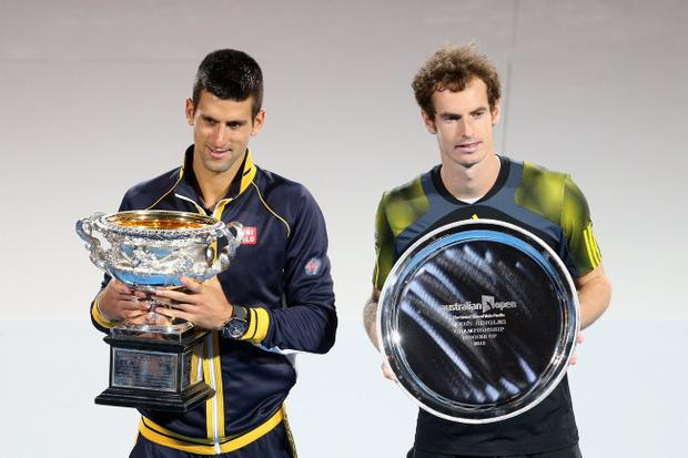 MELBOURNE, AUSTRALIA - JANUARY 27: Novak Djokovic (L) of Serbia holds the Norman Brookes Challenge Cup with runner up Andy Murray of Great Britain after Novak Djokovic won their men's final match during day fourteen of the 2013 Australian Open at Melbourne Park on January 27, 2013 in Melbourne, Australia. (Photo by Lucas Dawson/Getty Images)