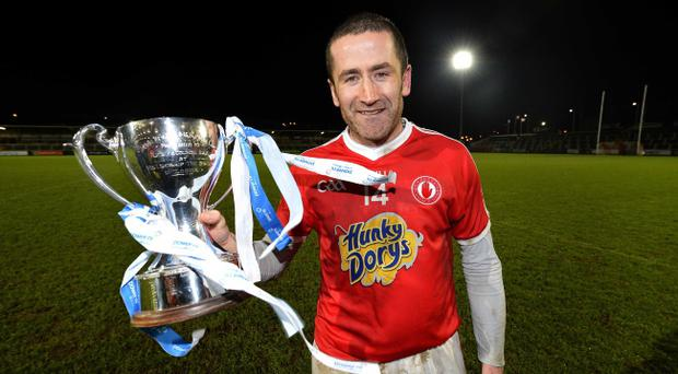 Tyrone captain Stephen O'Neill with the Dr McKenna Cup after Saturday night's final