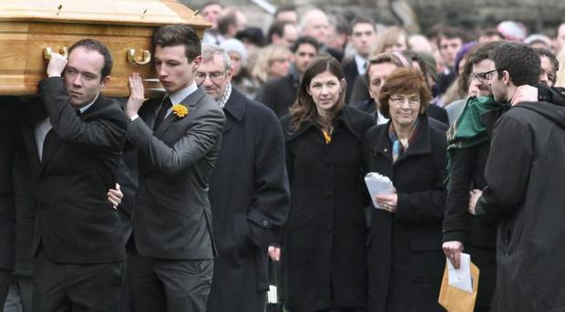 Family and friends attend the funeral of avalanche victim Una Finnegan at St Malachy's Church in Coleraine on Saturday