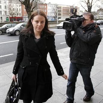 Aoife Quinn, the daughter of bankrupt businessman Sean Quinn, arrives at the Commercial Court in Dublin