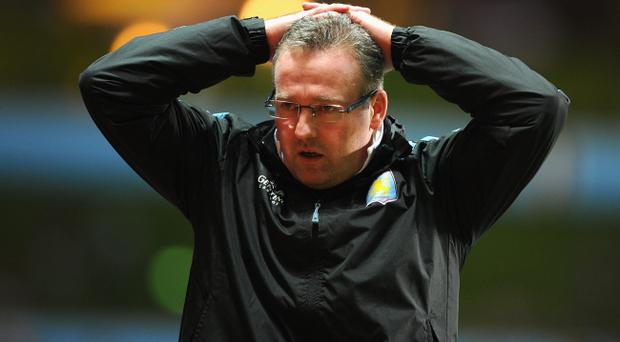 BIRMINGHAM, ENGLAND - JANUARY 29: Villa manager Paul Lambert looks dejected during the Barclays Premier League match between Aston Villa and Newcastle United at Villa Park on January 29, 2013 in Birmingham, England. (Photo by Michael Regan/Getty Images)
