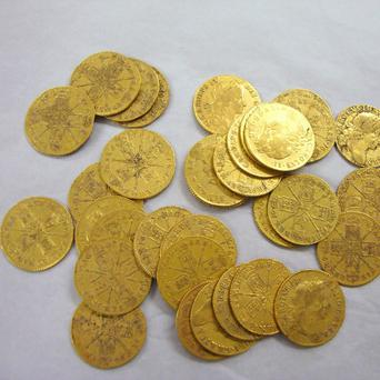 Some of the gold coins found underneath floorboards in a pub in Carrick-on-Suir by builders