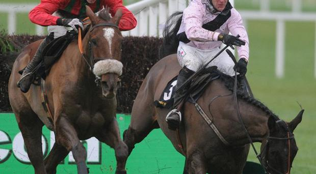 Benefficient gets away from the last in front as Oscars Well makes a bad error