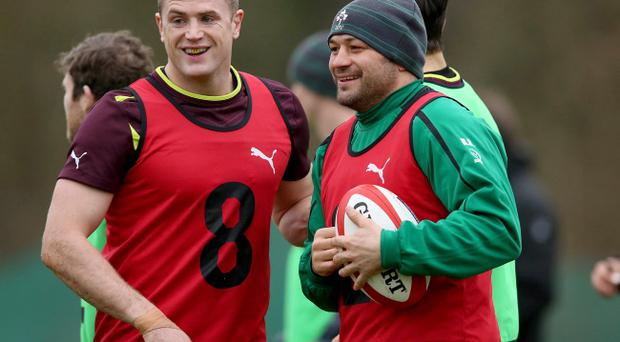Jamie Heaslip was in light-hearted mood, along with Rory Best at Irish training yesterday