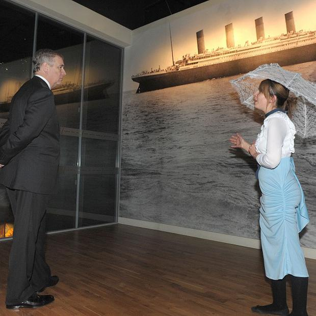 The Duke of York talks to one of the first class passengers as he tours the exhibition at the Titanic Building in Belfast (Simon Graham/Harrisons/PA)