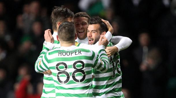 Celtic's Adam Matthews celebrates scoring his second goal during the Clydesdale Bank Scottish Premier League match at Celtic Park