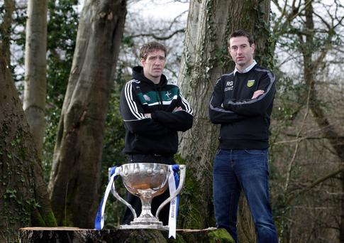 2013 Allianz Football Leagues Belfast Launch, Malone House, Belfast 30/1/2013Kildare manager Kieran McGeeney and Donegal assistant manager Rory GallagherMandatory Credit ©INPHO/Presseye/Matt Mackey