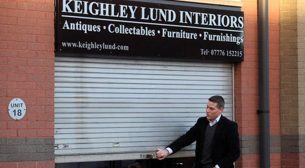 Casper Lund, whose father John Lund owns Lund Interiors on the Albertbridge Road, closes down the shop yesterday