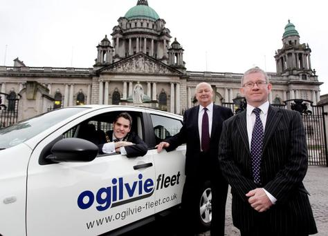Belfast Lord Mayor Gavin Robinson welcomes Ogilvie Fleet UK's Managing Director Gordon Stephen (right) and Regional Manager, Jim Humphreys, to Belfast City Hall yesterday following the announcement of their expansion
