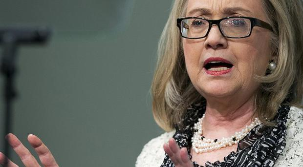 Hillary Clinton speaks pointed the finger at Iran's involvement in the Syrian civil war (AP/Manuel Balce Ceneta)