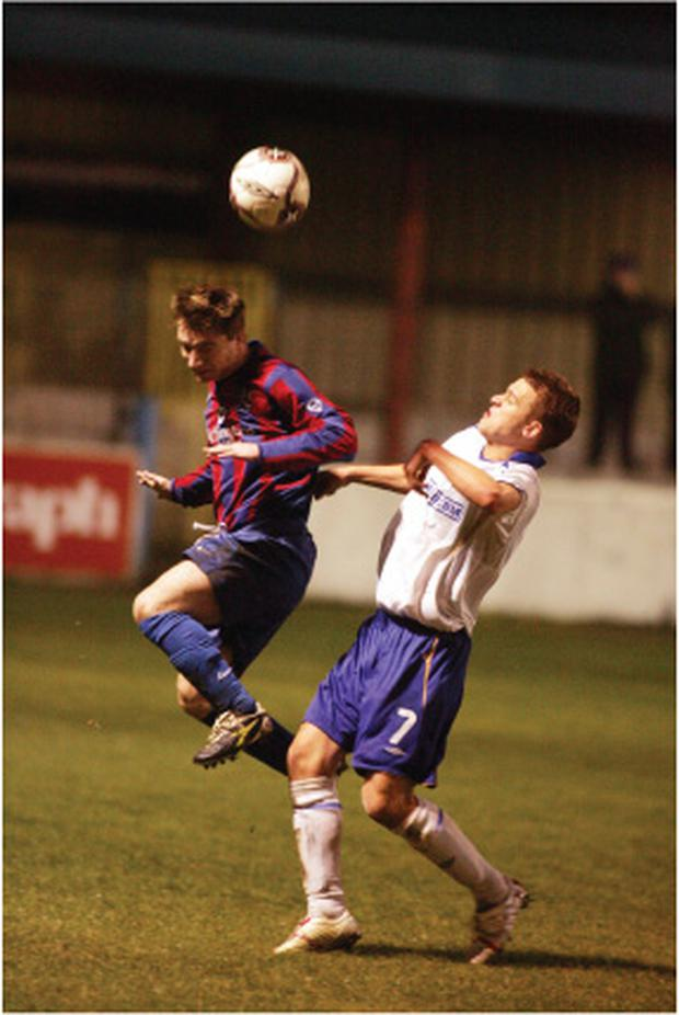 John Bailie (left, seen here in his Ards days, wants back in the top flight, this time with Bangor