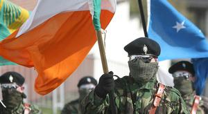 Several thousand dissident republicans are to hold their Easter parade in Belfast this year - which is expected to be led by a colour party in paramilitary-style clothing. File image