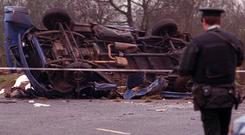Remains of the van in which seven workmen were killed in an IRA landmine explosion in Teebane, Co.Tyrone. Pacemaker Press