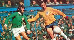 George Best nicked the ball from England goalkeeper Gordon Banks but his goal was controversially ruled out at Windsor Park in 1971.
