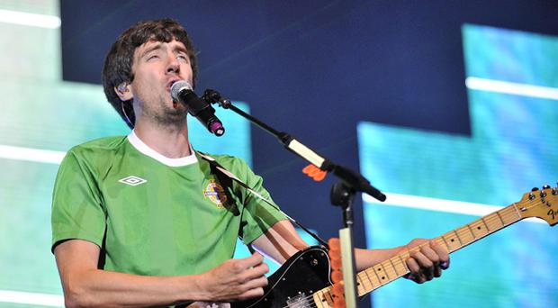 Snow Patrol lead singer Gary Lightbody performs to more than 40,000 people in Bangor's Ward Park, 2010