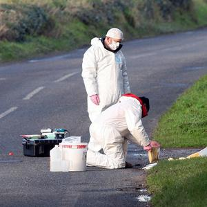 Police officers examine the scene in Co Down, where body of Philip Strickland, 36, was found