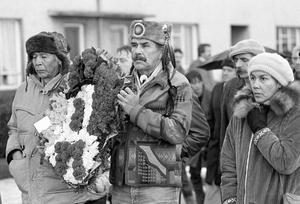 The Bloody Sunday Anniversary. Among the marchers were Native Americans who attended the event because of their sympathy with Irish Nationalists. 30/1/85.