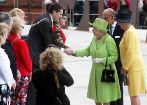 Her Majesty the Queen, Elizabeth II visiting the Titanic Signature Building, Belfast. The Queen meets Lord Mayor, Gavin Robinson