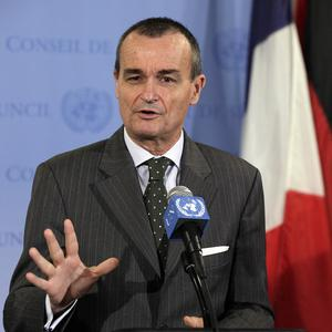 France's UN ambassador Gerard Araud, the current Security Council president, answers reporters' questions at the United Nations (AP)