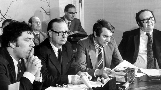 SDLP press conference with John Hume, Gerry Fitt, Austin Currie and Paddy Devlin.  11/09/75