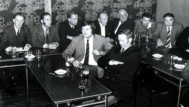 Ulster Defence Association/U.D.A: 1972.  Delegates at the talks between Vanguard, Ulster Defence Association and the Loyalist Association of Workers.