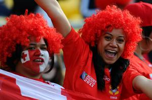 WELLINGTON, NEW ZEALAND - OCTOBER 01:  Tonga fans cheer their team on during the IRB 2011 Rugby World Cup Pool A match between France and Tonga at Wellington Regional Stadium on October 1, 2011 in Wellington, New Zealand.  (Photo by Mike Hewitt/Getty Images)