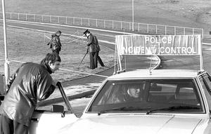Scene of the shooting ot 2 INLA men (Seamus Grew and Roddy Carroll) from Armagh after they broke through a road block. Dec 1982