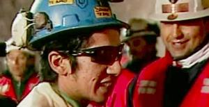 Jimmy Sanchez, the fifth miner to be rescued, celebrates after his rescue Wednesday, Oct. 13, 2010 at San Jose Mine