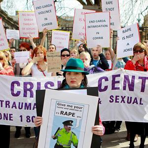 Protests in Dublin in April over the recording of the 'rape' conversation between gardai, currently the subject of the Ombudsman's report