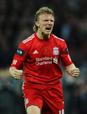 LONDON, ENGLAND - FEBRUARY 26:  Dirk Kuyt of Liverpool celebrates as he scores in the penalty shoot out during the Carling Cup Final match between Liverpool and Cardiff City at Wembley Stadium on February 26, 2012 in London, England.  (Photo by Mike Hewitt/Getty Images)