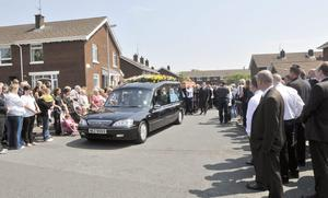 Mourners at  the  funeral  of  Bobby Moffett. June 4 2010