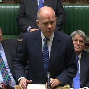 Foreign Secretary William Hague told MPs five Libyan diplomats are being expelled from the UK