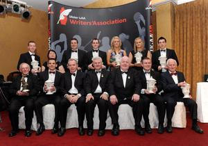 All the award winners and dignitaries at The Quinn Insurance Ulster GAA writers awards banquet at the Slieve Russell Hotel, Co Cavan.
