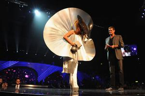 BELFAST, NORTHERN IRELAND - NOVEMBER 06:  Singer Lady Gaga receives the award for Best Female from actor David Hasselhoff onstage during the MTV Europe Music Awards 2010 live show at at the Odyssey Arena on November 6, 2011 in Belfast, Northern Ireland.  (Photo by Dave Benett/MTV 2011/Getty Images)