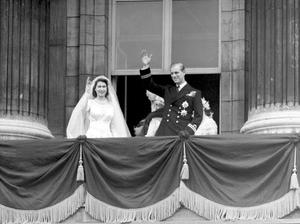 File photo dated 20/11/1947 of bride Princess Elizabeth (now Britain's Queen Elizabeth II) and the groom, the newly-created Duke of Edinburgh, on the balcony of Buckingham Palace on their wedding day.
