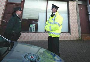 Police at the building in Portstewart where the baby's remains were found