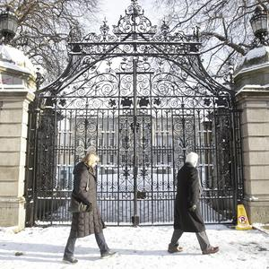 Leinster House was covered with snow as the cold snap hit