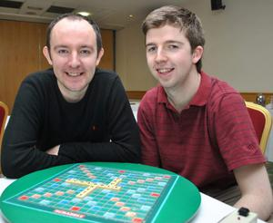 New Northern Ireland Scrabble Champion, Brett Smitheram from London with former champ Paul Gallen (R), from Belfast, at the tournament in the Beechlawn Hotel, Dunmurry yesterday.