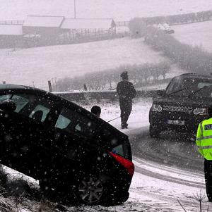 A car abandoned after a crash in the North Yorkshire Moors
