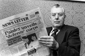 Rev Ian Paisley After Formation of Defence Corp. Paisley with copy of morning's Newsletter which announces that he had unveiled a new Defence Corp following a late night gathering of loyalists.  Pacemaker Press Intl.  6th Feb. 1981.120/81/BW