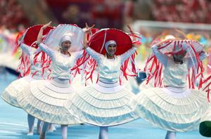 WARSAW, POLAND - JUNE 08:  Dancers perform during the opening ceremony ahead of the UEFA EURO 2012 group A match between Poland and Greece at The National Stadium on June 8, 2012 in Warsaw, Poland.  (Photo by Alex Grimm/Getty Images)