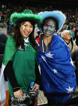AUCKLAND, NEW ZEALAND - SEPTEMBER 17: Ireland and Australian Wallabies fans look on during the IRB 2011 Rugby World Cup Pool C match between Australia and Ireland at Eden Park on September 17, 2011 in Auckland, New Zealand.  (Photo by Sandra Mu/Getty Images)